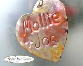 Personalized Heart Ornament, Valentine's Day, Holiday Decoration, Rustic Copper, Metal Decor, Romantic Keepsake