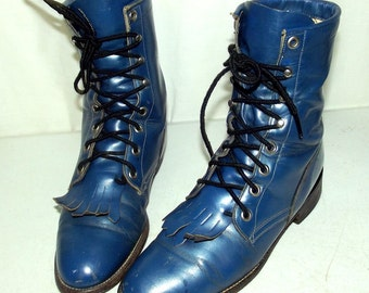 Broken In Blue lace up cowboy boots - Justin brand -  womens size 6 B - western steampunk