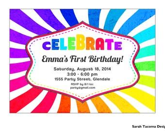 Rainbow Birthday Party Invitation. Customized. Printable Invite. Red Green Blue Yellow Purple Orange