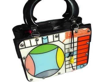 1960s Parcheesi Game Board Recycled Handbag