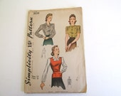 Vintage Sewing Pattern Circa 1941 Simplicity 3638 Misses Size 12 Bust 30 Blouse Set and Jerkin