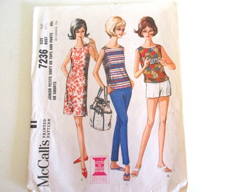 Vintage Sewing Pattern McCall 7236 Junior Petite Shift Tops Pants Shorts Size 9JP