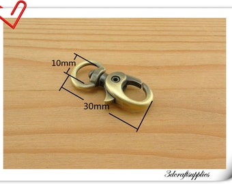 Lobster claw snap hook ,anti bronze hook,for lanyard ,Dog leashes hook, hand bag hook 30mm x 10mm (3/8 inch eye size) 10 pcs P73