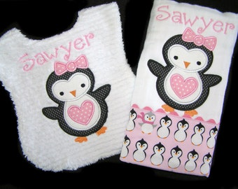 Personalized Handmade Baby Gift Set - Appliqued Bib and Burp Cloth - Penguins on Pink - White Chenille - Reversible