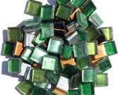 Emerald Green Mix Reflective Foil Colored Tiles 10mm Tiles Glass Pieces Emerald Green Mix 10mm Glass Mosaic Tiles Set of 50 pieces