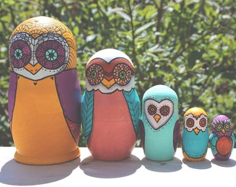 Custom Owl Nesting Dolls
