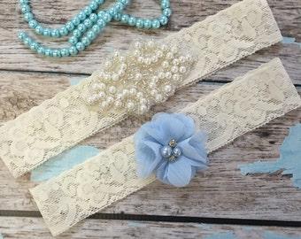 Wedding garter / Lace garter SET / bridal  garter / vintage lace garter / toss garter / wedding garter / pearl garter / something blue