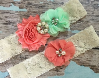 Coral and Mint wedding garter set / bridal  garter/  lace garter / toss garter included /  wedding garter