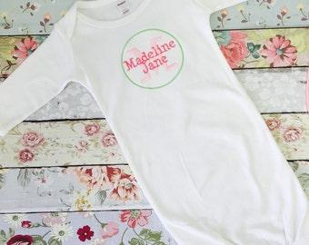 Newborn girl layette , newborn gown  , baby girl gown  , monogrammed baby girl gift , personalized newborn girl gift