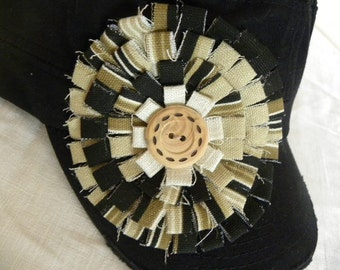 Black Military Cadet Cap  Hand Made Embellishment Cap Hat