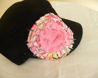 Black Military Cadet Cap Hand embellished.  Black Hat, hot pink, yellow and green with bright pink silky center.