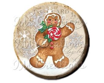 """Pocket Mirror, Magnet or Pinback Button - Favors - 2.25""""- Vintage Christmas Gingerbread Man MR305"""