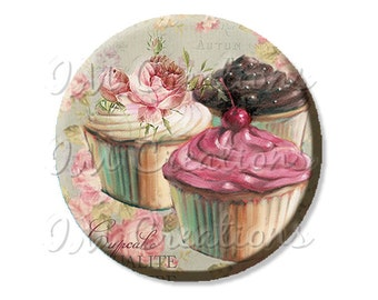 "Pocket Mirror, Magnet or Pinback Button - Wedding Favors, Party themes - 2.25""- Trio Cupcakes MR423"
