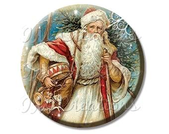 "Pocket Mirror, Magnet or Pinback Button - Favors - 2.25""- Vintage Christmas Victorian St. Nick MR203"