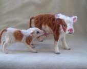 OOAK Realistic Miniature Mother Cow & Calf -by Malga