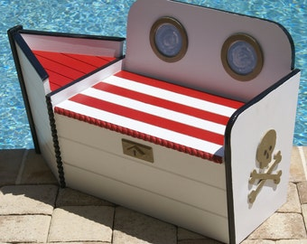 Toy Chest, Wooden Toy Box, Pirate Boat shaped wood toy chest, FREE SHIPPING, toy storage,nautical decor, beach house decor, nautical decor,