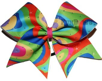 Fun and funky Rhinestone Swirls Cheerbow by FunBows  ! Celebrate the 60's !