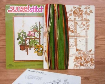 Vintage 1977 Embroidery Crewel Kit Plant Stand Botanical Plants by Gwen Francis 16 x 20