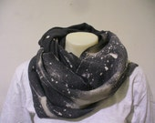 2 LEFT Grey Bleached Pattern Infinity Scarf