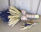 Simple dried flower bridal bouquet and boutonniere with Lavender and Wheat.  Accented with burlap and vintage buttons.
