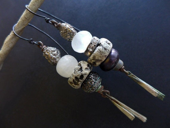 Liquid Measure. Silver stacked Victorian tribal rustic bling grey assemblage earrings.