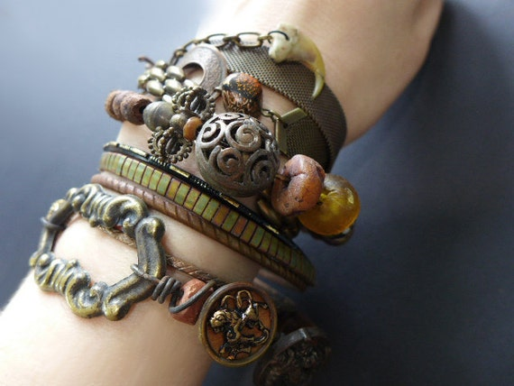 Earthen Path. Bangle stack. Rustic tribal gypsy bracelet set with cuff in browns, copper, amber.