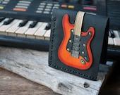 New Item !!!! Men Wallet  Stratocaster Guitar & Sunburst Red Color leather