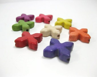 20mm Howlite Cross Beads Set of Eight