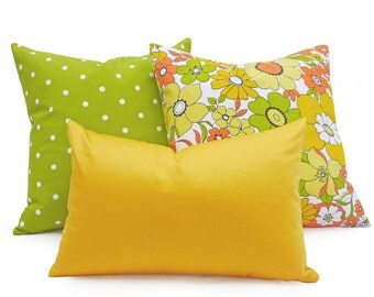 Bright Yellow Lumbar Pillow Cover, Solid Yellow Pillow, Yellow Lumbar Cushion, Bold Saturated Hues for Summer Decor 12x18