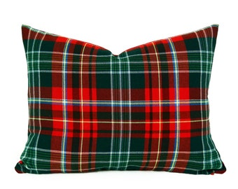 Christmas in July Pillows, Vibrant Red Green Plaid Pillow Covers, New Brunswick Provincial Tartan Plaid, Canadian Plaid Pillow, 14x18 Lumbar