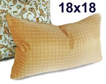 Gold Throw Pillow Covers, 18x18, Tan Decorative Pillows, Textured Pillows, Iridescent, Metallic Pillows, Masculine  Cushion Covers