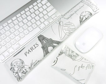 Computer Keyboard Wrist Rest and Mouse Wrist Rest Set in Paris French Stamp - Wrist Support