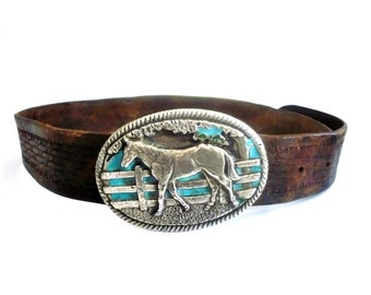 French Vintage Brown Leather with Horse Charm Metal Bukcle