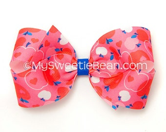 Red Apple Hair Bow, 5 inch Hair Bow, Printed Boutique Bow, Apple Bow for Girls, Teens, Women, Hot Pink, White, Baby Toddler Girls