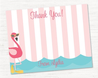 INSTANT DOWNLOAND Editable and Printable Thank You Cards - Flamingo Pool Party