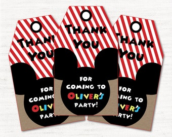 Mickey Mouse Clubhouse Inspired Party - Instant Download Editable Decor Party Favor Tags Goody Bag Tags