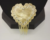 Rhinestone Heart/Hair Comb/Ivory Celluloid Lucite Plastic/Bridal Wedding Accessory