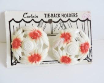 1940s Curtain Tacks, 1950s Curtain Tacks, Curtain Tie Backs, NOS Curtain Tacks, Kitchen Window Tacks