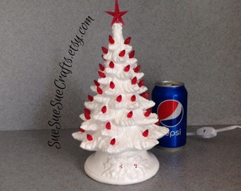 Ready to ship Traditional Ceramic Christmas tree White and Red CHRISTMAS TREE with snow  11 inches holiday decoration