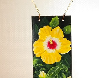Welcome Sign of a Yellow Hibiscus Hand Painted on a Barrel Stave with Tin Welcome
