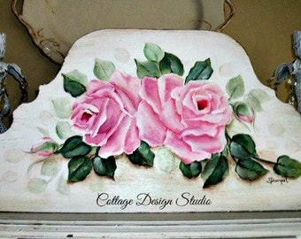 shabby chic pink roses painting, pink roses painting, country chic decor, shabby decor, french country decor, wood sign, pink decor. roses