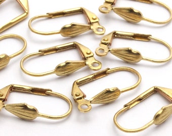 Leverback Shell Earring, 20 Raw Brass Leverback Earring Findings With Shell (18.5x10mm)   BS 1103--A0929