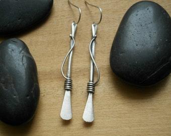 vine and stem earrings, long, elegant sterling silver earrings for everyday wear, feminne earrings, winding vine earrings
