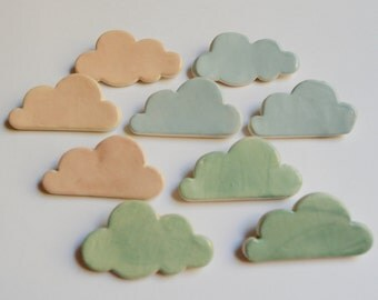 Ceramic Cloud Brooch in Pastel and Fluorescent