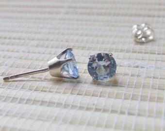 Blue Spinel Studs Sterling Silver Alternate March Birthstone 6mm