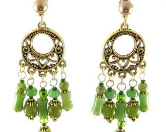 Chrysocolla & Jade Chandelier Earrings