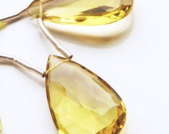 Large Faceted Lemon Topaz Briolette Pair
