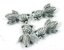 4 Silver Pewter Goldfish Beads 23x16mm ~ Lead-Free ~ (P139)