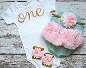 Cake Smash Outfit Baby Girl Baby Girl 1st Birthday Photography Props Gold One Bodysuit Pink Bloomers Barefoot Sandals Pink Gold White Silver