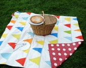 Waterproof Picnic Blanket- Flag Bunting- Summer, Picnic Party, Personalized Gift